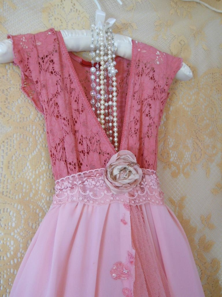 Coral pink beaded tulle maxi dress rose romantic Medium by vintage opulence on Etsy
