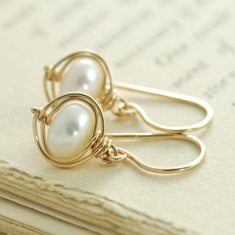 Wrapped Pearl Handmade Earrings in 14k Gold Fill