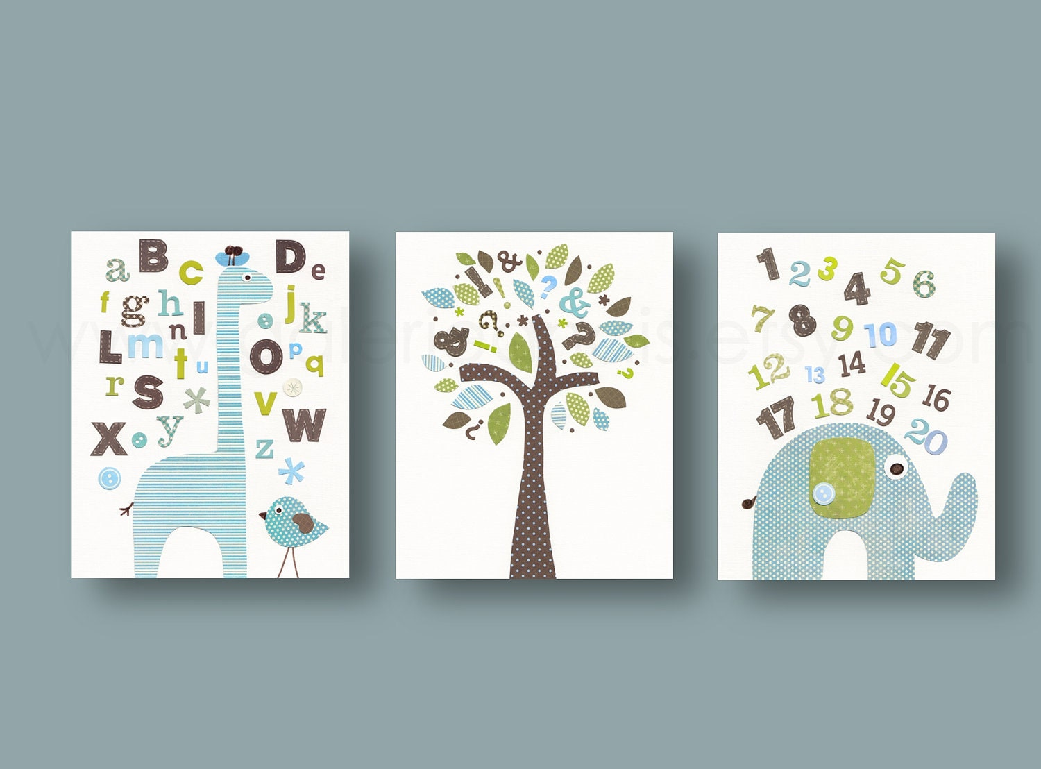 Alphabet giraffe numbers elephant bird tree by galerieanais for Chambre 8x10