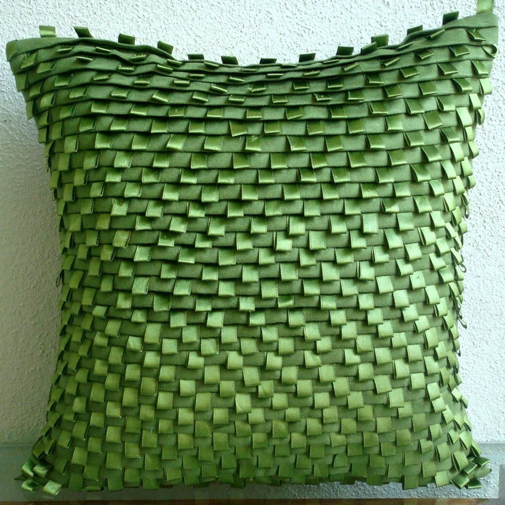 Go Green - Throw Pillow Covers - 16x16 Inches Suede Pillow Cover with Pintucks and Satin Ribbon