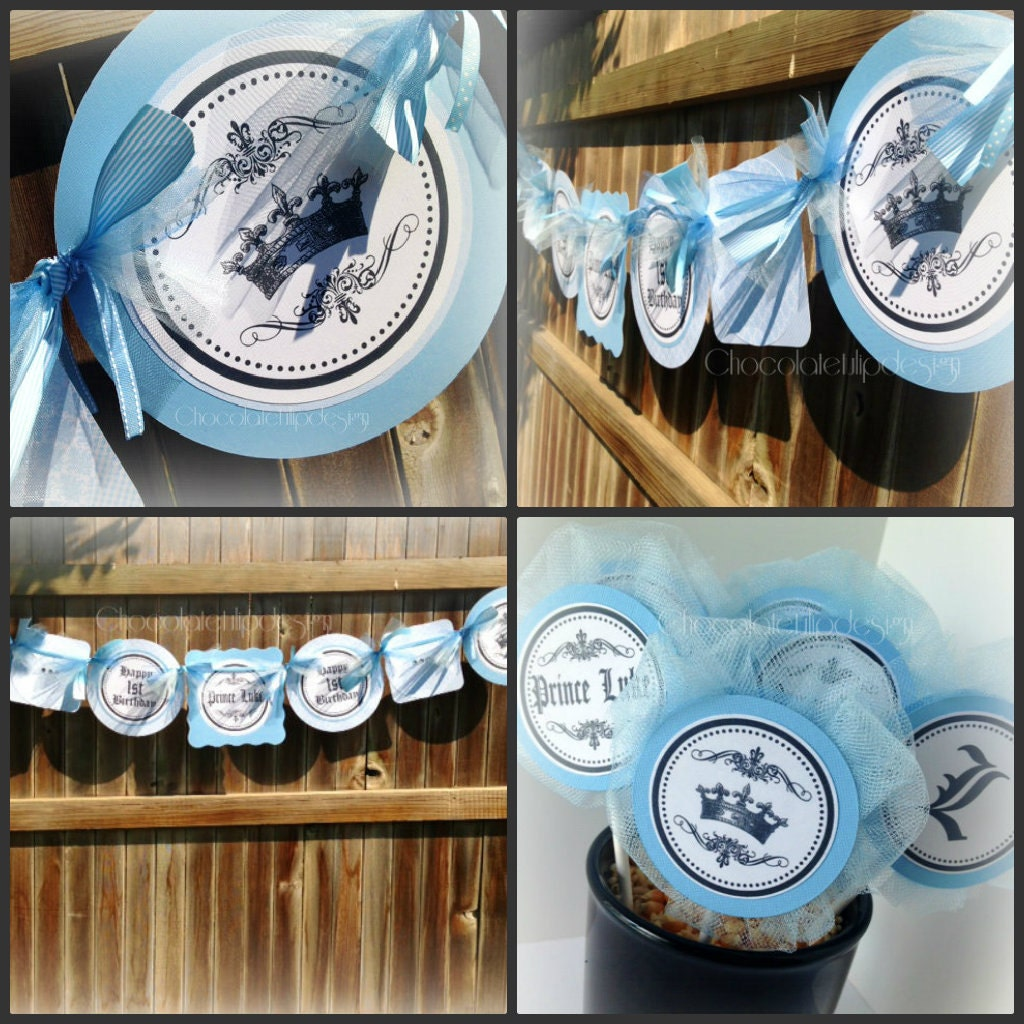 prince baby shower theme baby blue banner handmade original by