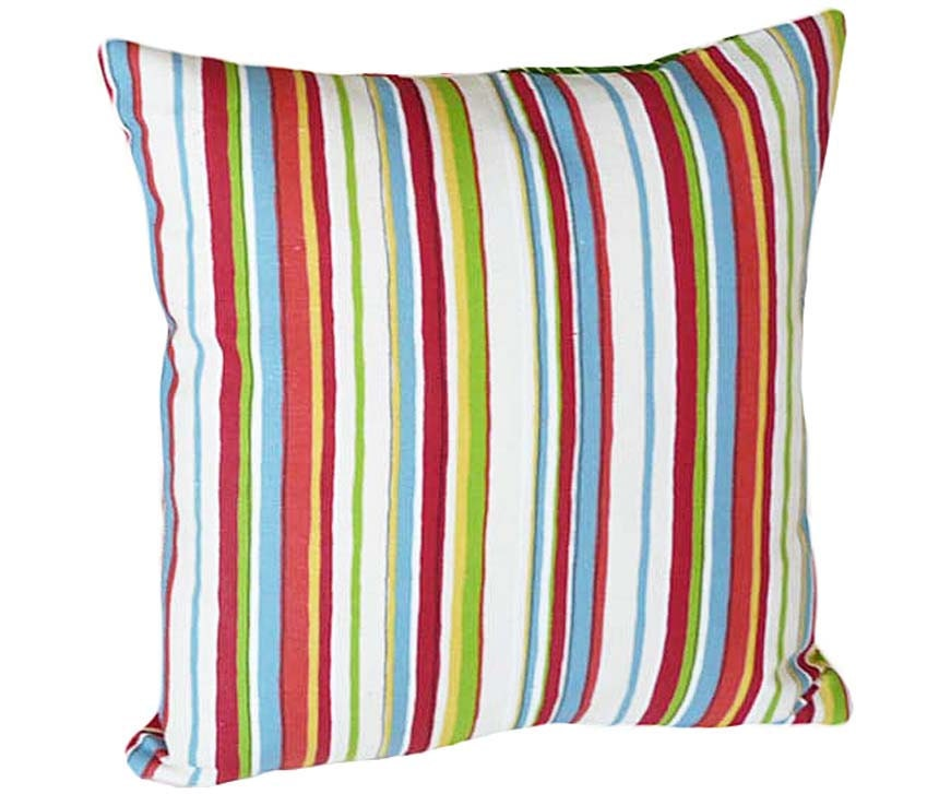 Blue Striped Decorative Pillows : Colorful Throw Pillows Striped Decorative by PillowThrowDecor