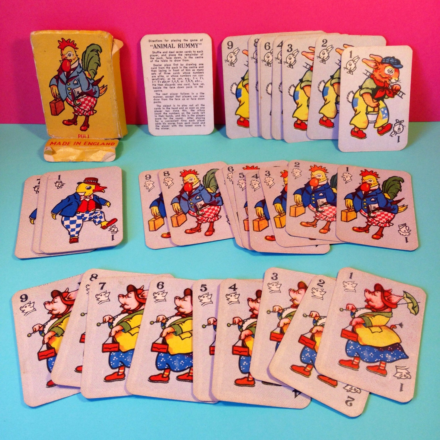 Card Game  1950s  Animal Rummy  Vintage  Vintage Card Games  Childrens Card Games