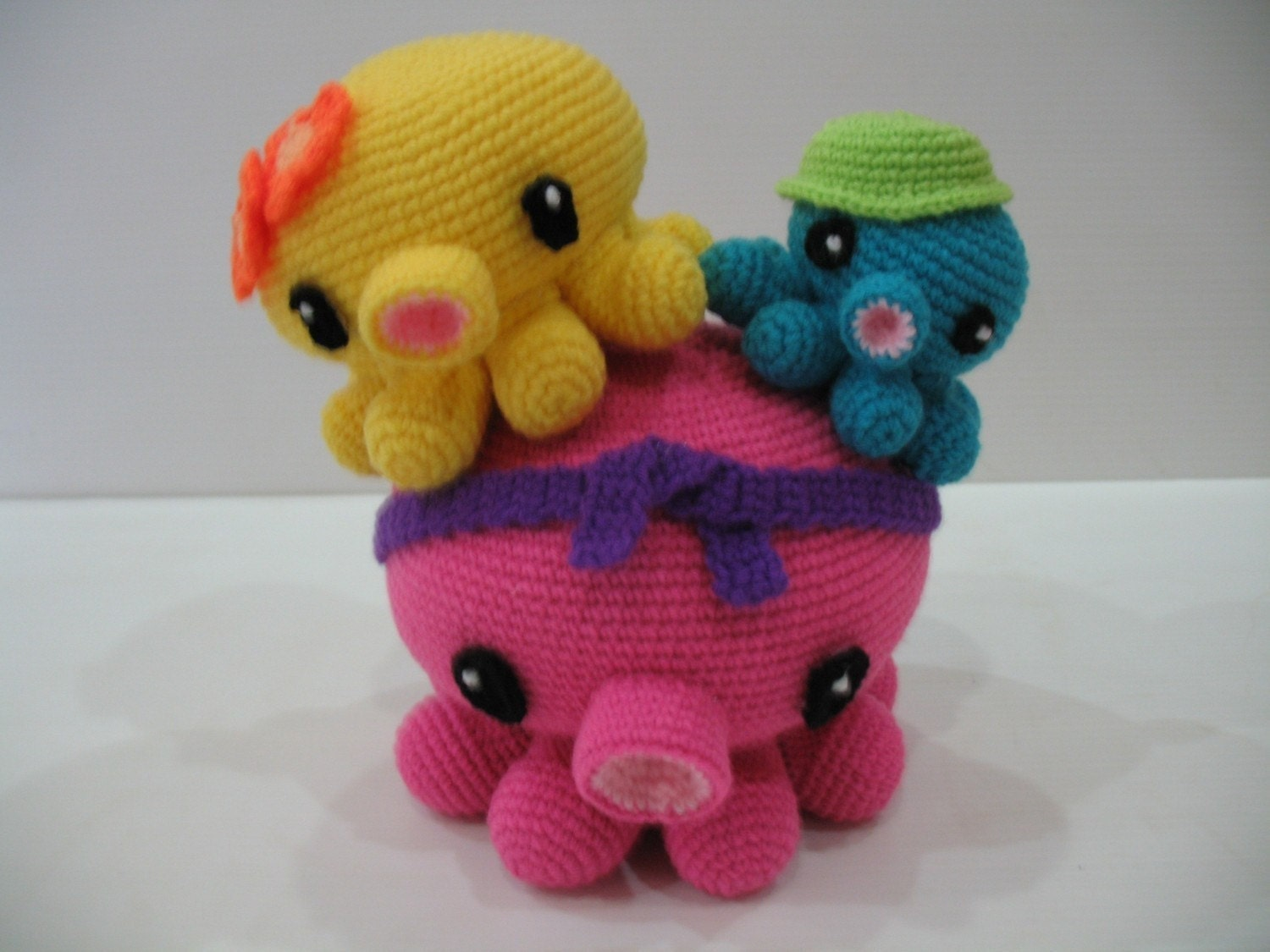 Crochet Pattern - OCTOPUS FAMILY- Toys - PDF