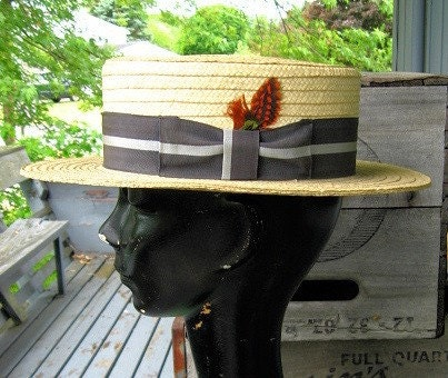 Vintage Straw Boater Hat Ribbon and Feather 7