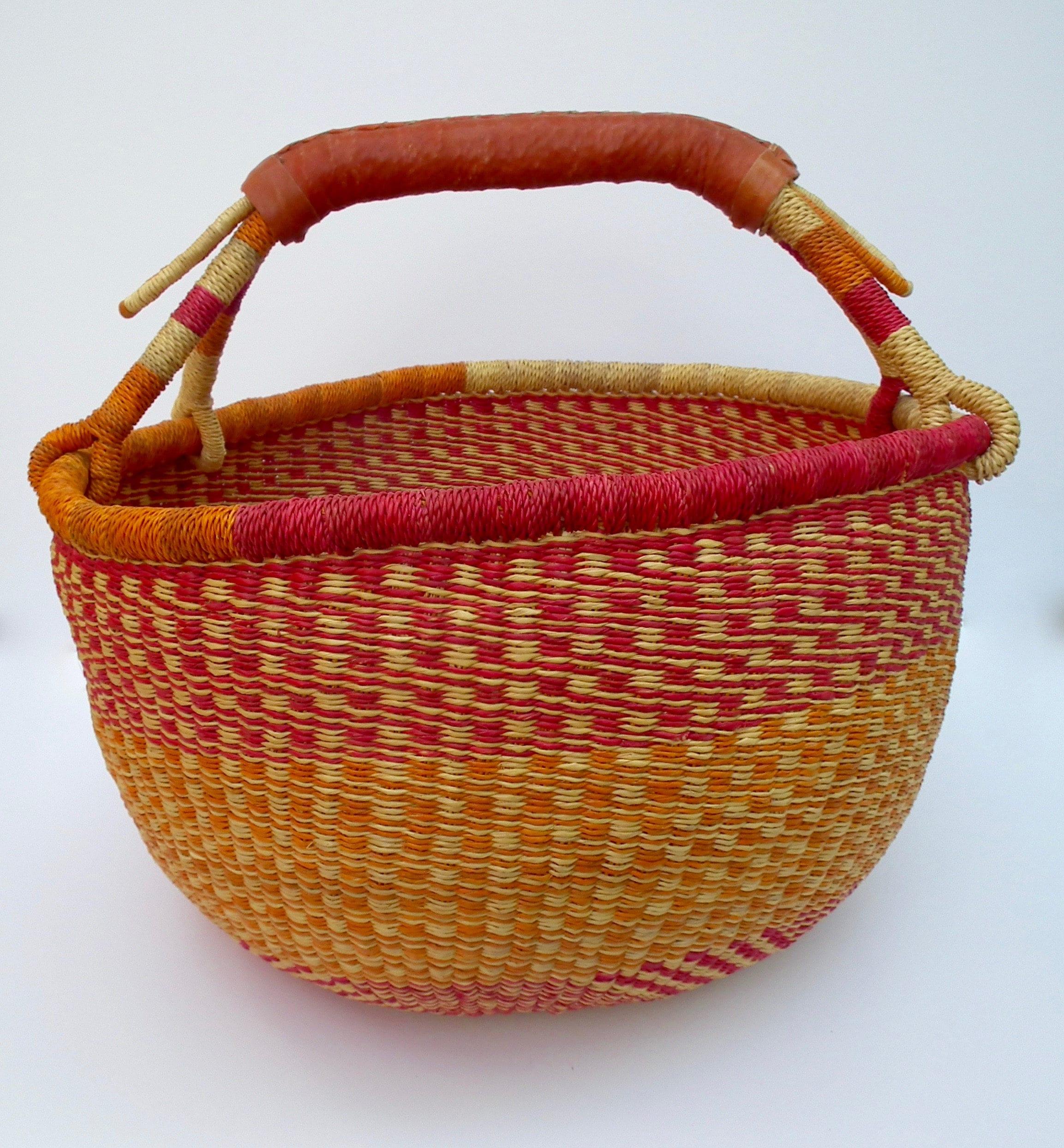 Fair Trade Bolga Basket XLarge African Basket Patterned Basket Shopping Basket Storage Basket Hamper Toy Storage
