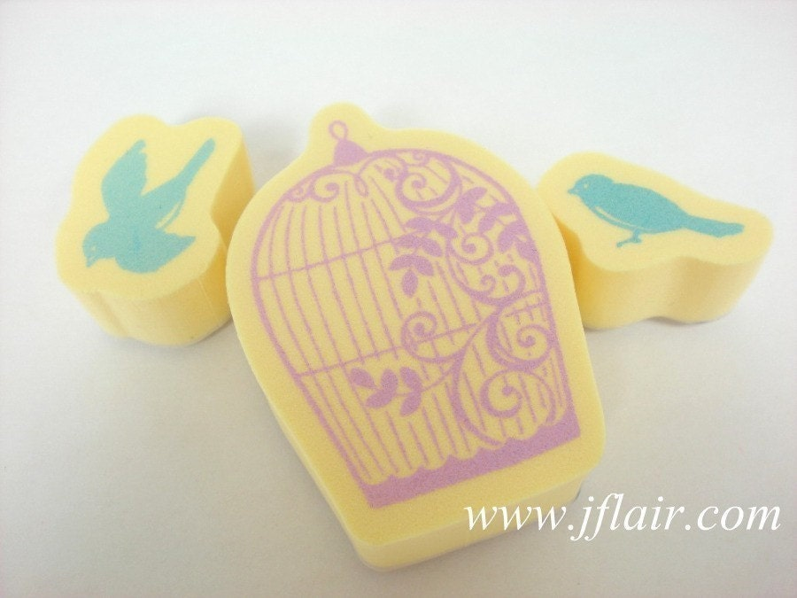 Kodomo Japanese Rubber Stamp Duet Set - Bird Cage