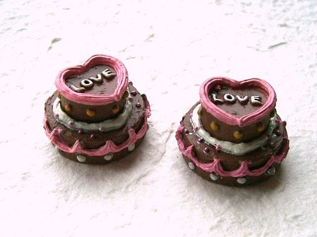 Cute Japanese Sweets Cabochons - Chocolate Cake LOVE and HEART