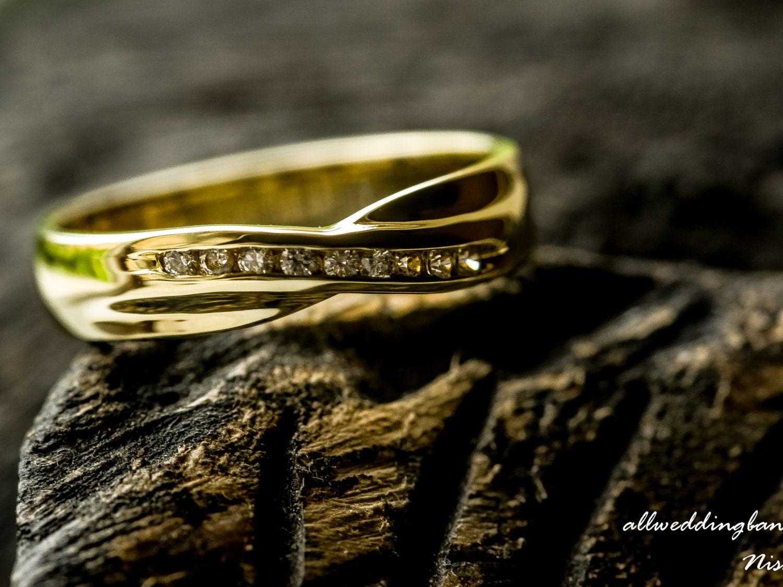 9ct14ct18ct Yellow Gold Diamond Wedding Band Diamond Crossover Wedding Band Diamond Infinity Wedding Band Anniversary Promise Ring