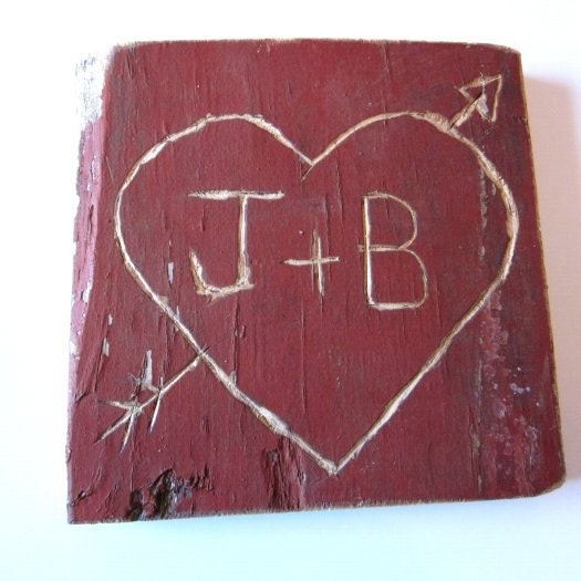 Heart Hand Carved Personalized on Old Red Barn Wood