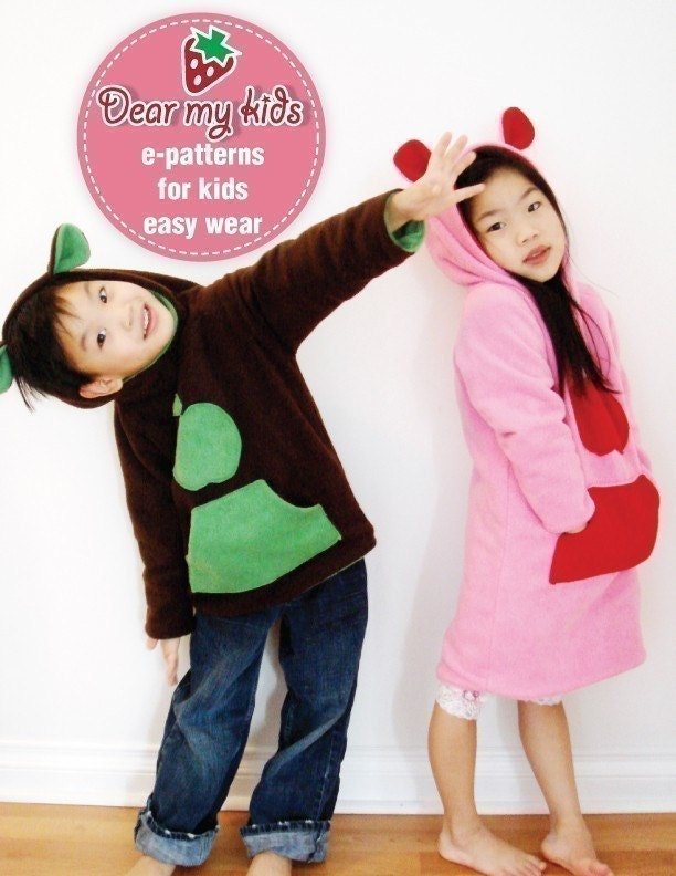 REVERSIBLE CUTIE HOODIES FOR BOYS AND GIRLS (12M - 6T) - PDF Patterns