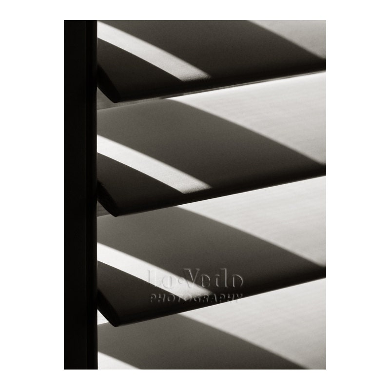 Geometric Shapes Black and White Photo Shadows Shutters Abstract Angles Triangles Large Print 16x24