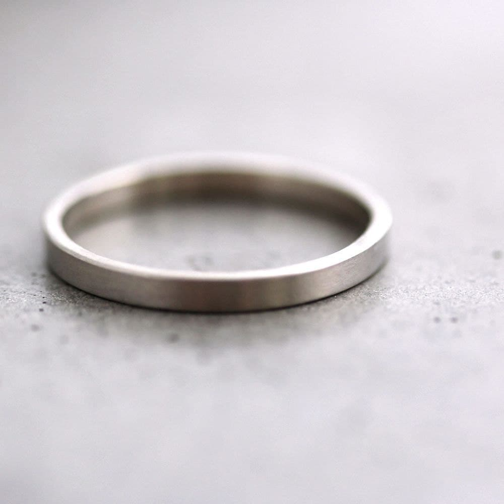 White Gold Wedding Band Stackable Ring 2mm Slim By TheSlyFox