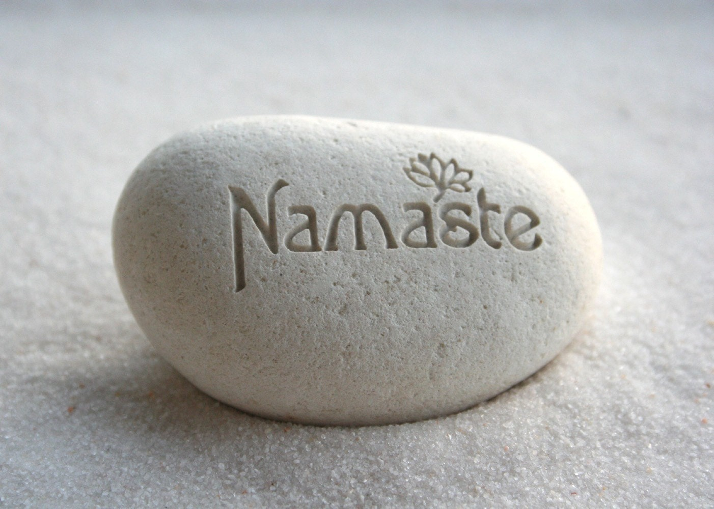 Namaste pebble - engraved white beach pebble by sjEngraving