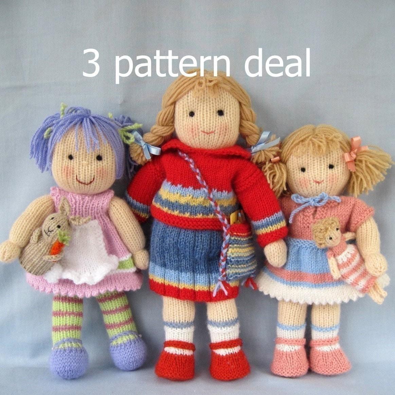TILLY ، لولو و لوسی اسطو خودوس عادی -- 3 الگوی معامله -- عروسک اسباب بازی knitted -- ایمیل اف بافندگی الگوی