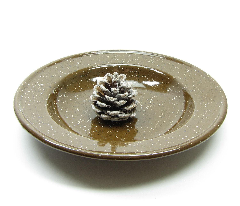 Brown Enamelware Dish Graniteware Speckled Vintage Deep Dish Camping Plate - BrownEyedRoseVintage
