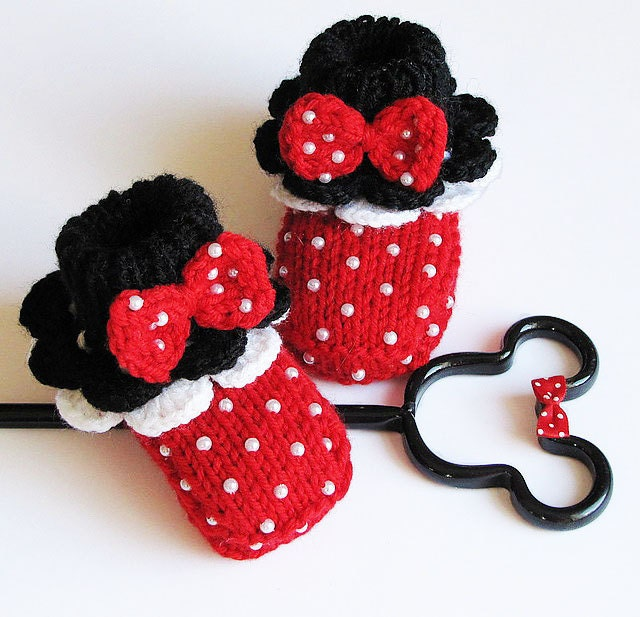 "Knitted Baby booties, baby girls shoes "" Minnie's Red  Booties""/ 4-6M"