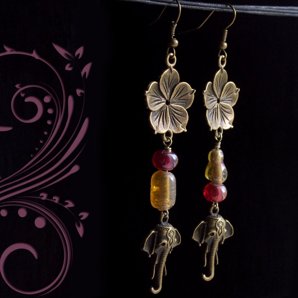 brass elephant earrings by GypsyInMyBlood