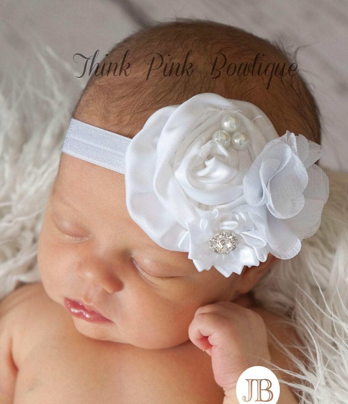 White baby headband baby headbands christening by - Diademas para bebes bautizo ...