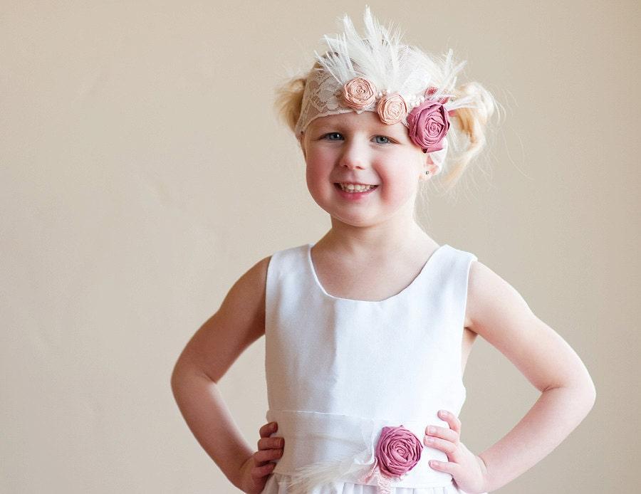 The Alice Dress ivory satin flower girl dress, 1920s flower girl dress, white satin flower girl dress, gatsby flower girl dress