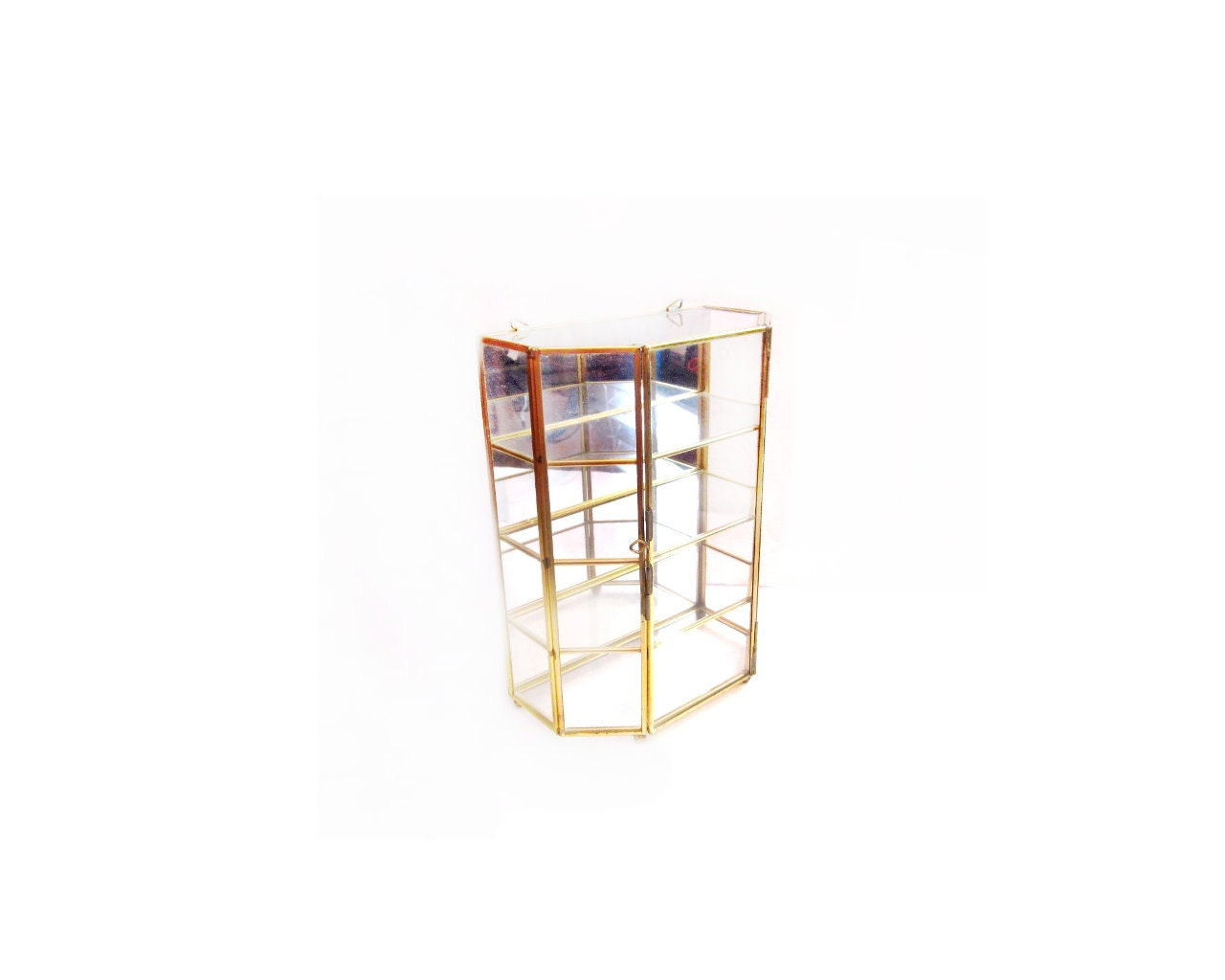 Mirrored brass glass curio display case shelf by for Mirrored box shelves