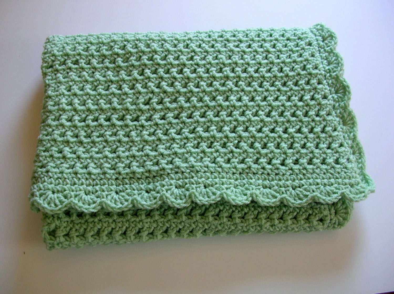 Crocheted Baby Afghan Blanket Honeydew Green Mint Pastel Handmade Littlestsister - LittlestSister