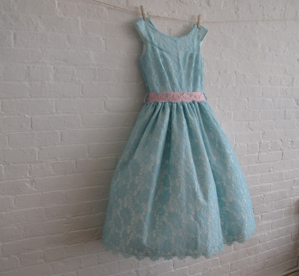 robin egg blue lace tea dress