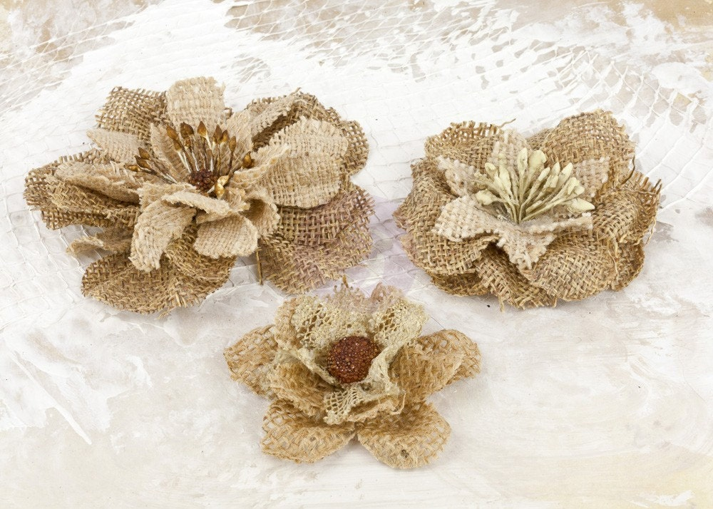 NEW: La Tela Collection - Natures Love Burlap Flowers  577146 Brown tan Vintage Inspired Flowers. Fascinator or Hat Design Appliques.