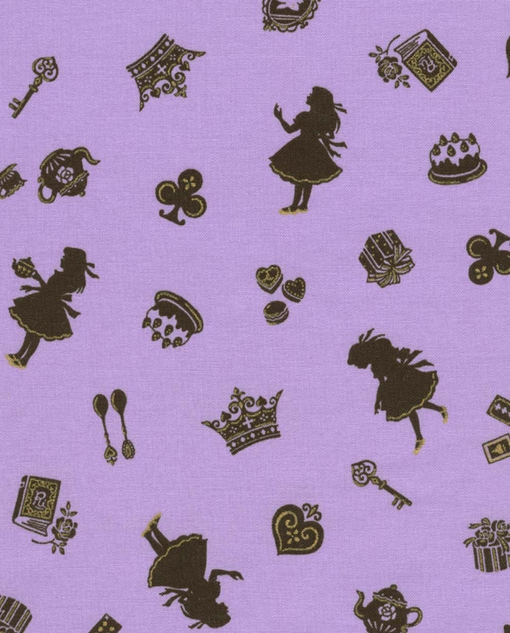 Japanese Fabric - Alice in Wonderland on Purple Half Yard