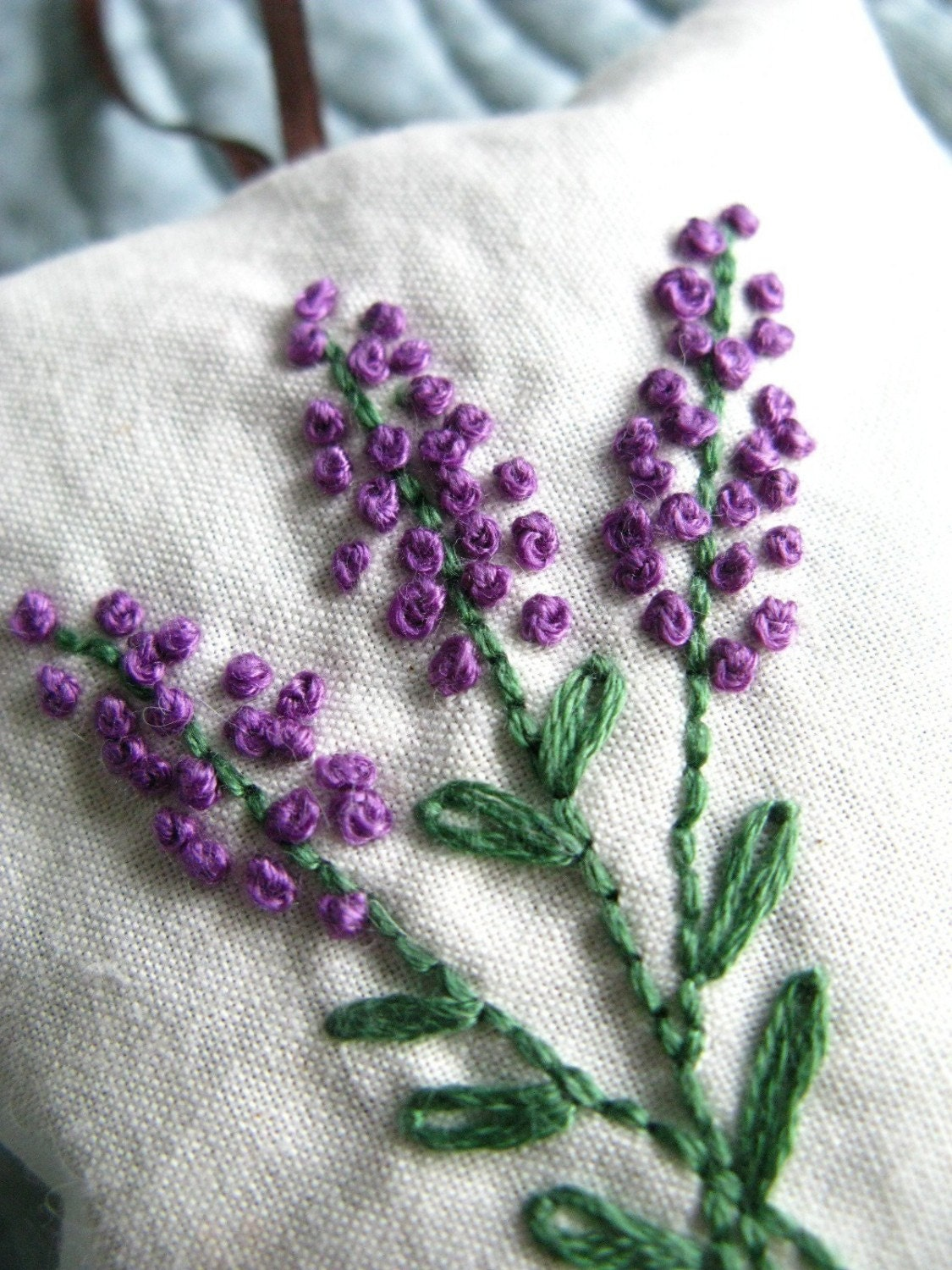 Lavender Sachet - Hand Embroidered Flowers - Personalized