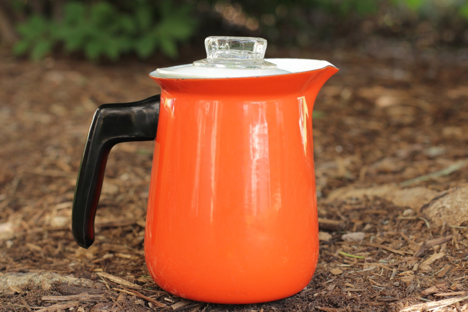Orange Red Enamel Percolator with Plastic Lid and Handle - WildMushrooms