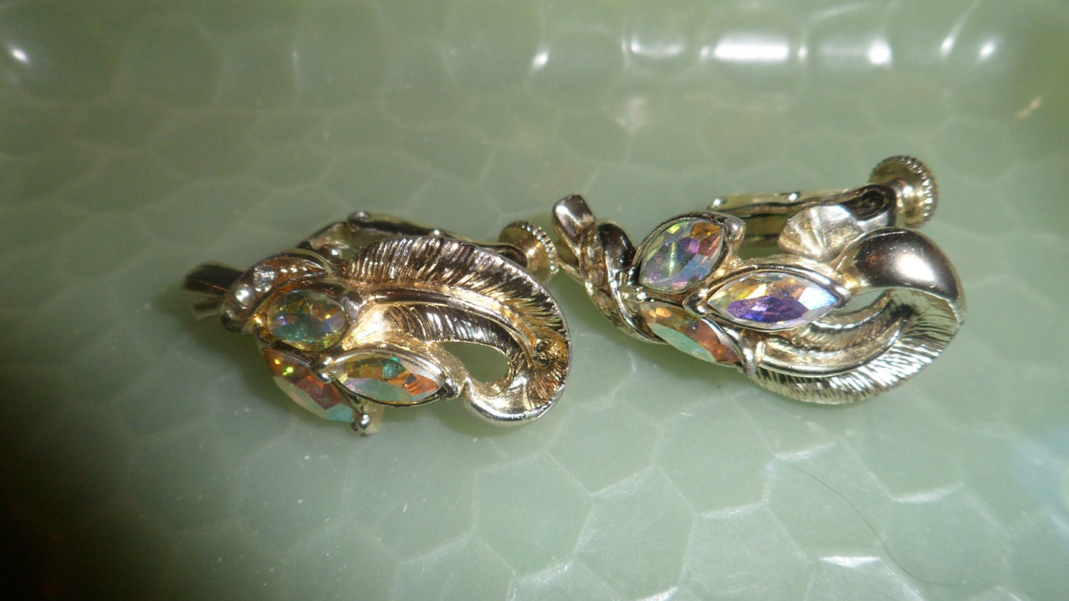 Vintage Coro Rhinestone Costume Jewelry Earrings