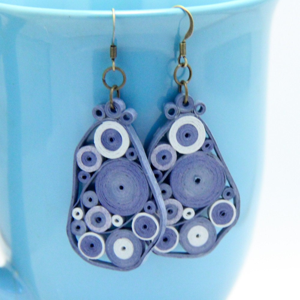 Blue Retro Circles Paper Quilled Earrings