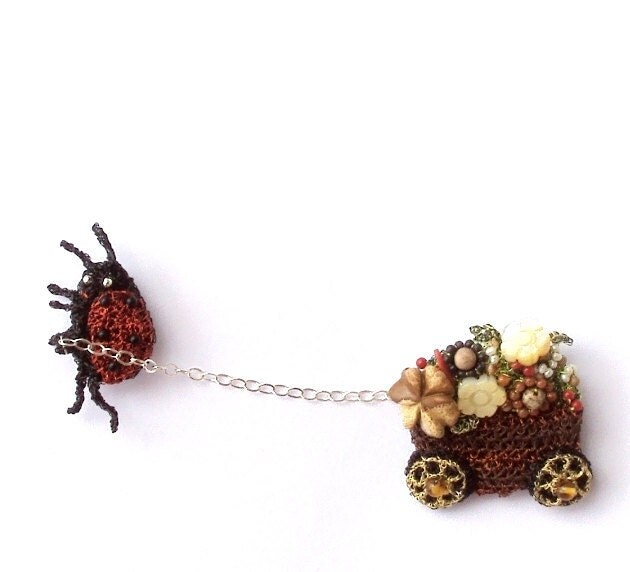 Ladybug pulling flower cart brooch, unusual double pin - otherworlds
