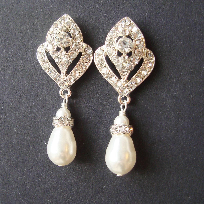 Wedding Jewelry Art Deco Bridal Earrings Pearl By Luxedeluxe