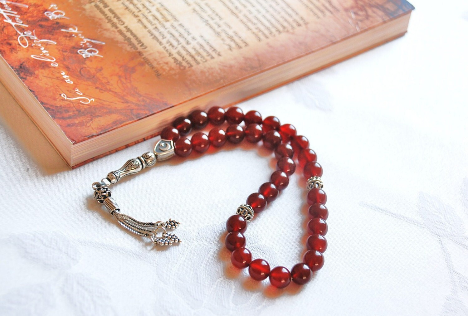Agate Gemstone Silver Prayer Beads Tasbih by SevimsDesign on Etsy from etsy.com