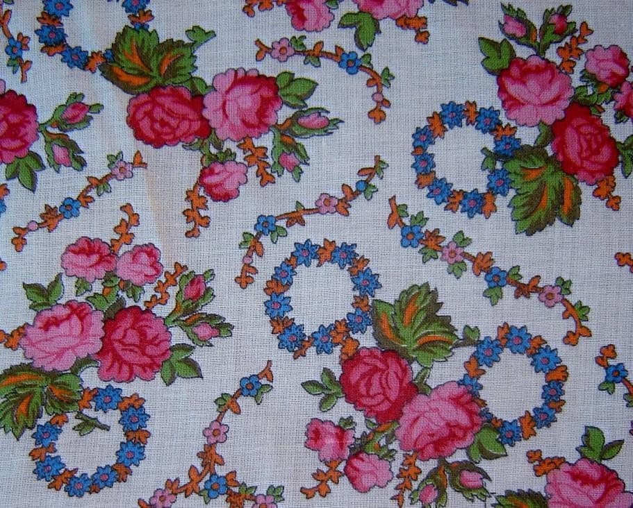 vintage print fabric roses and garlands