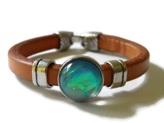 Leather bracelet boho chic bohemian brown blue turquoise silver - TheRottenRooster
