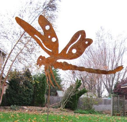 Dragonfly garden stake garden decor yard by for Daylight designs metal garden art