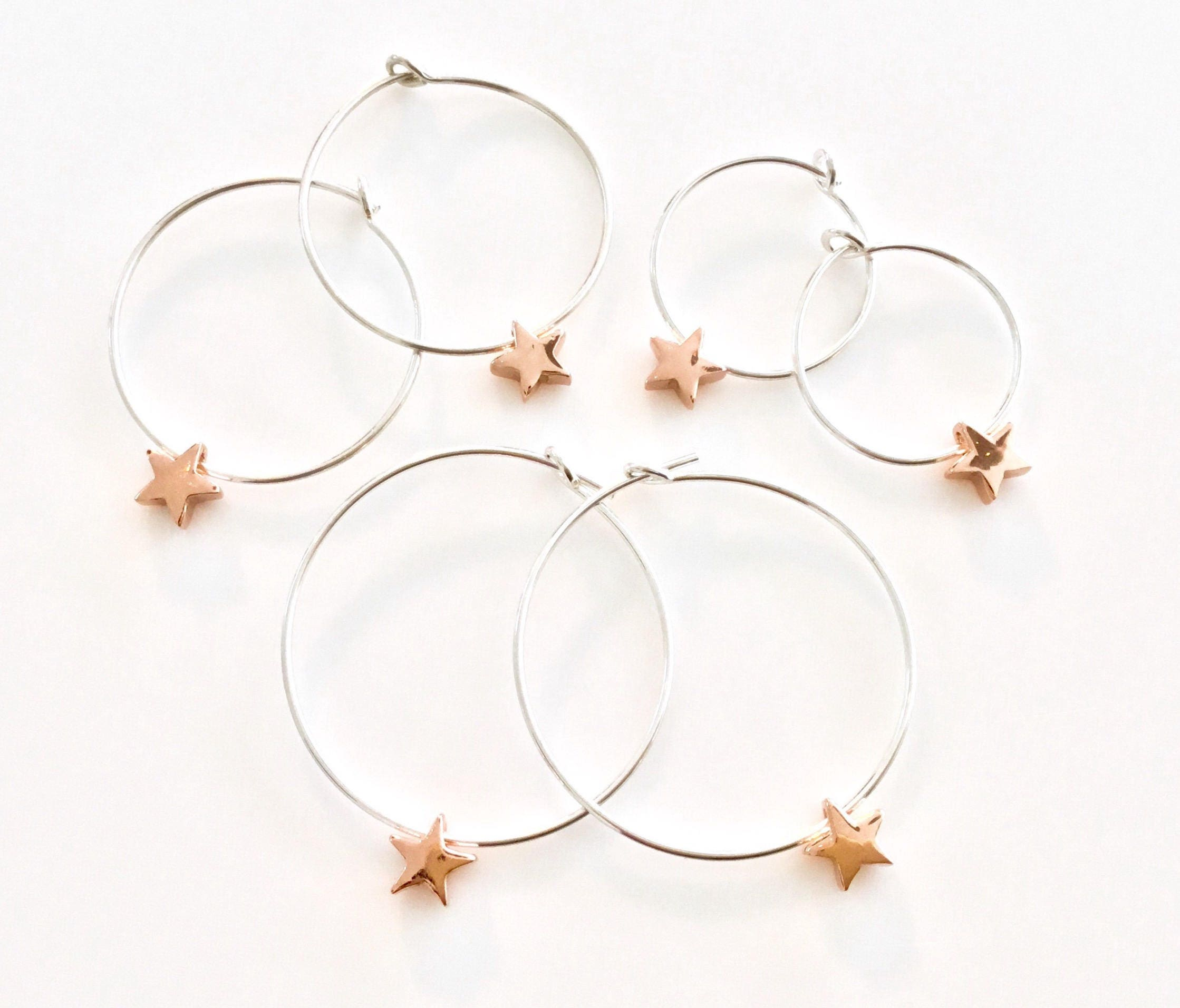 Rose Gold and Silver Earrings Star Earrings Sterling Silver Hoop Earrings Star Hoops Small Gold Hoop Earrings Teen Gift Rose Gold Jewellery