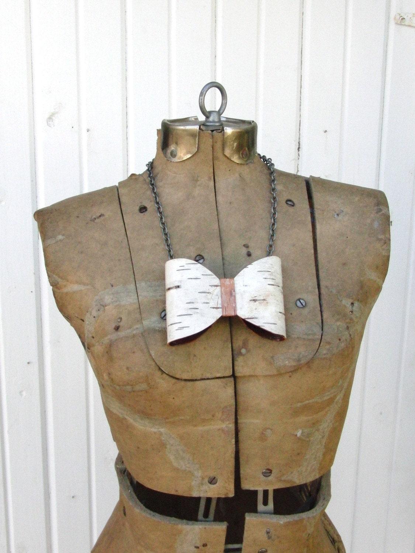 Birch bark bow necklace
