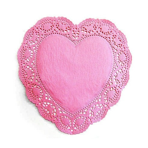 10.5inch Big Heart Shape Lace Paper Doilies ( 267mm - Pink color 20 sheets)