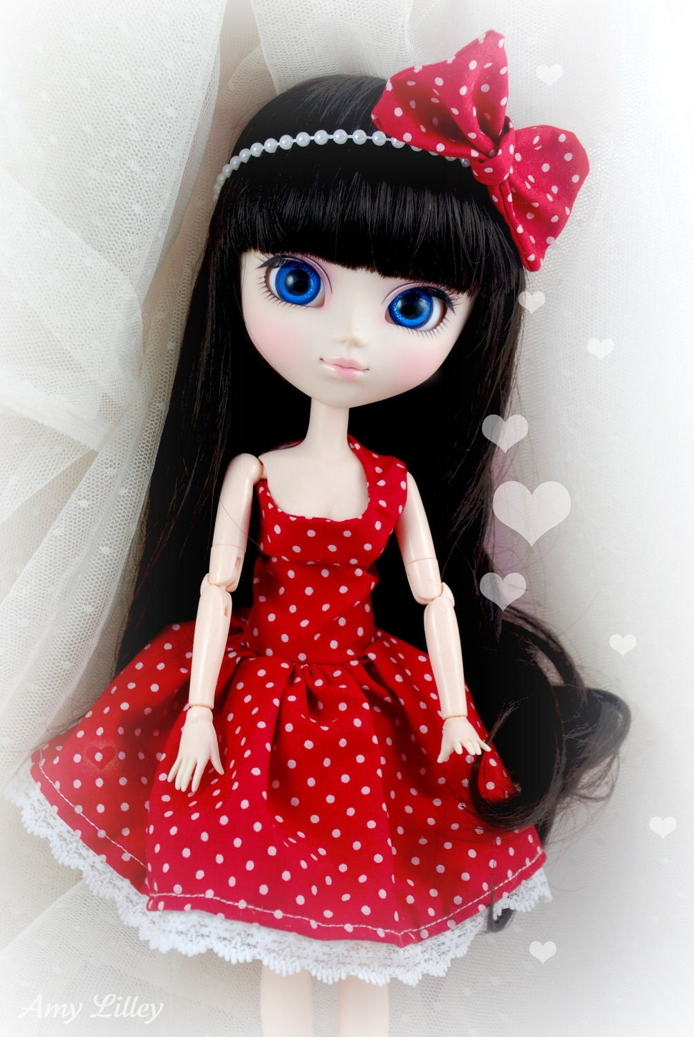 Pullip Dress and Bow - One-Shoulder 1960s style