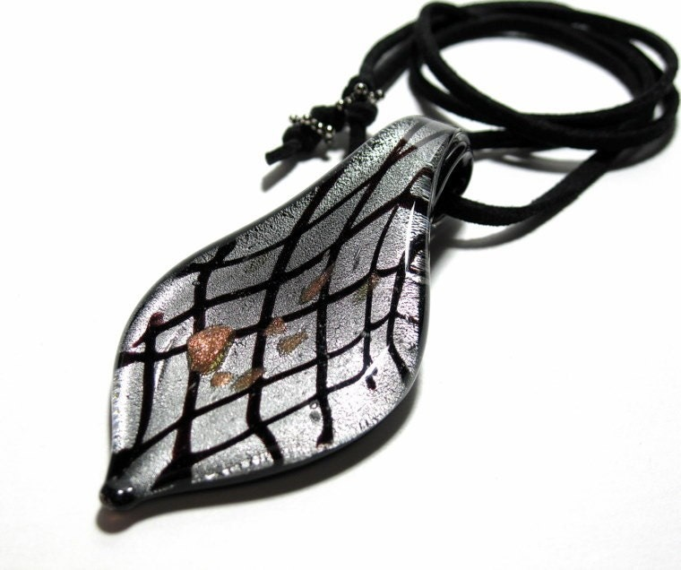 Black Widow Glass and Suede Pendant Necklace