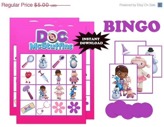 30% off sale INSTANT DOWNLOAD Digital doc mcstuffin Printable Birthday party bingo game