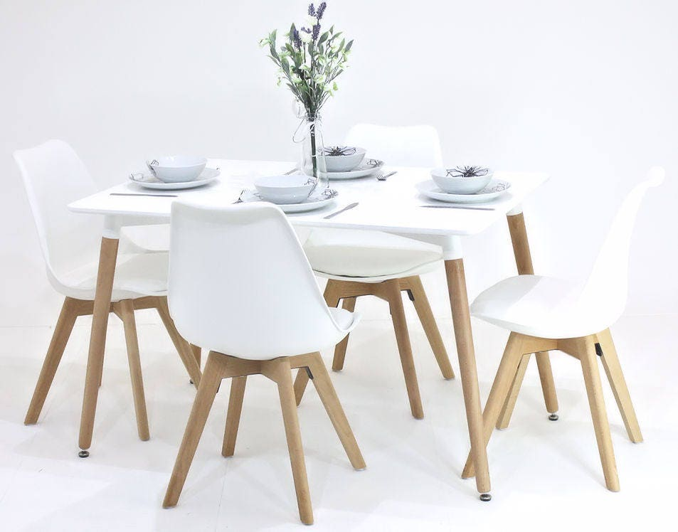 PN Homewares Lorenzo Dining Table and 4 Chairs Set Retro Modern Chairs Choice of Black or White Table White Black or Grey Chairs