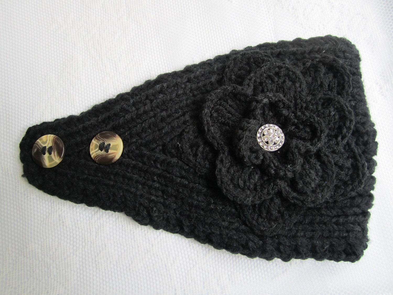 Black Knit Headband Ear Warmer with Crochet by GreatLakesShop