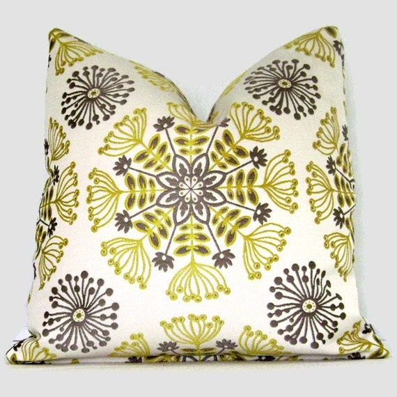 Gray and Citron Yellow Stylized Floral Print Pillow Cover 18x18