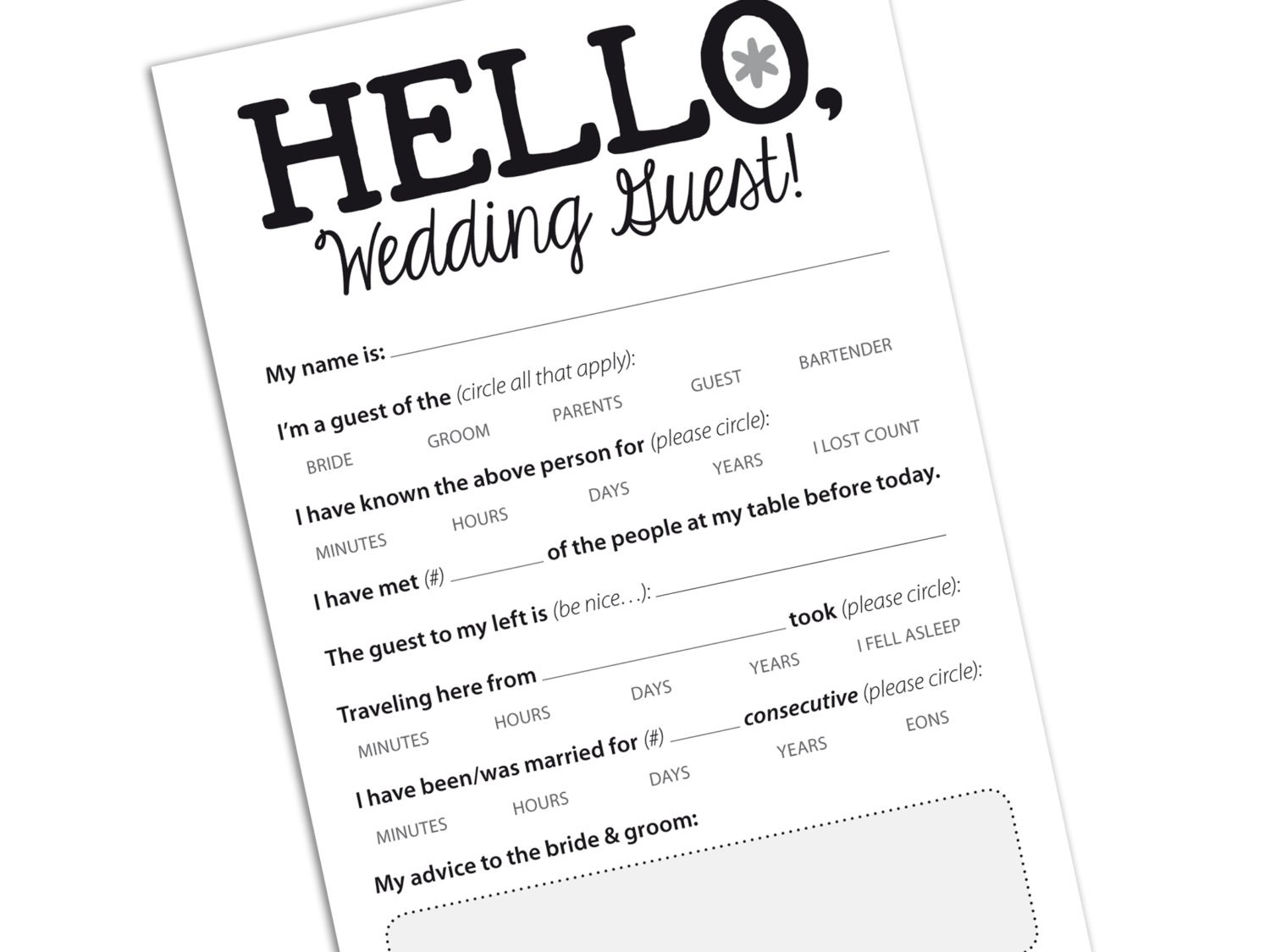 WEDDING GUEST CARD Funny Marriage Advice Card By Helloinklings