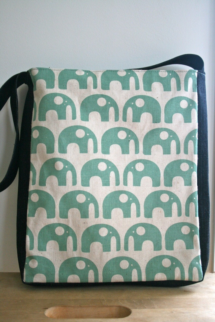 Green Elephant Library Tote
